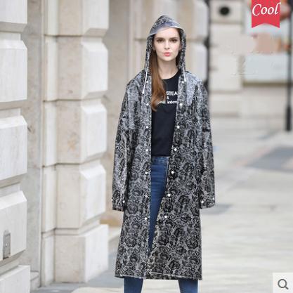 Thickening EVA Print Lace Raincoat Women Girls Transparent Rain Coat impermeable ponchos mujer Plastic Rain Jacket Trench