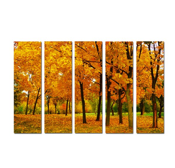 Large 5 Panel Modern Wall Art Picture Golden autumn Maple Fallen Leaves Landscape Print painting On Canvas for Living Room Home Decor SetB15
