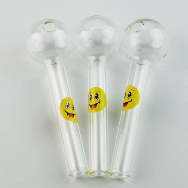 Aksesuarlar Yağ Brülör Tütün Aracı Toptan SW15 Sigara için 4 İnç Gülümseme Logo Düz Tüp Topu Yağ Brülör Cam Kaşık Pyrex El Borular