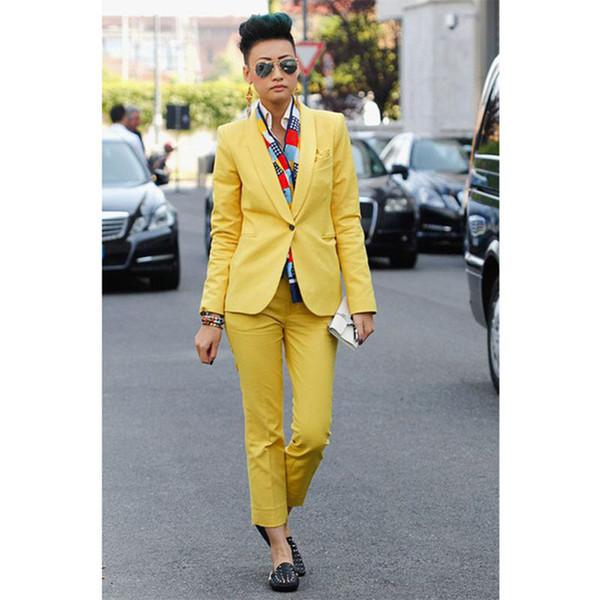 Personalizado Novo Estilo Amarelo das Mulheres Terno das Calças Slim Fit Feminino Terno de Negócio 2 Peça Mulheres Smoking Feito Sob Medida Jacket + Calças