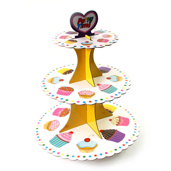 3 Tier Sweet Food Theme Cake Holder Cupcake Stand Kids Birthday Party Decoration Supplies Cardboard Cake Stand