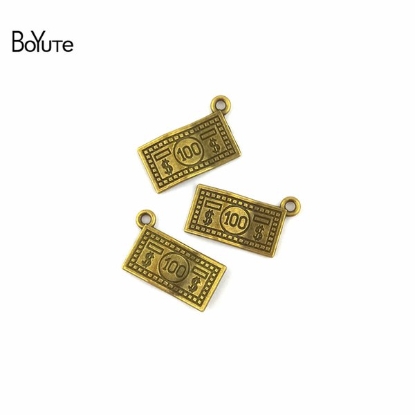 BoYuTe (100 Pieces/Lot) 13*21MM Vintage Style Antique Bronze Plated Zinc Alloy Dollar Charms for Jewelry Making Diy Bracelets Accessories
