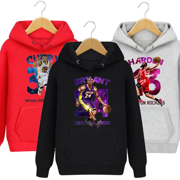 Basketball Star Kobe Bryant James Harden Curry Hoodies Sport Couleur Unie Imprimer Pull Hommes Femmes Pull de Haute Qualité Hoodies