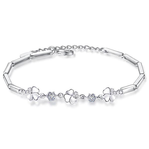 Cubic Zirconia Four Leaf Clover Charm Bracelets For Women Korea Trendy Jewelry WHBG59