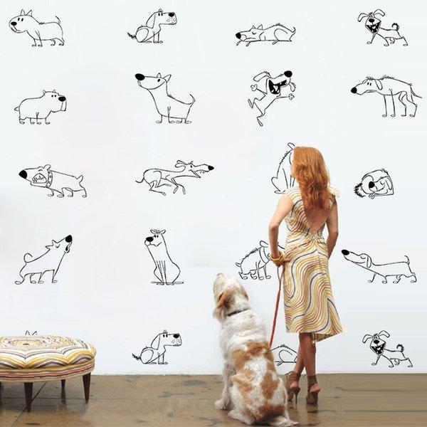 DIY Sevimli Yaratıcı Hayvan Köpekler Su Geçirmez Duvar Sticker Duvar Kağıdı Mobilya Dolap Oturma Odası Ev Dekorasyon Vinil Çıkartması Çocuk Odası Dekor