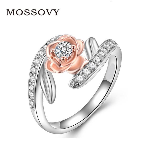 Acheter Mossovy Rose Or Bague Fleur Zircon Bague De Fiançailles De Mode  Bijoux De Mariage Anneaux Pour Les Femmes Bague Femme Anillos Mujer Anillos  De