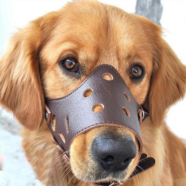 Neue Kleine Große Leder Hund Maulkorb Einstellbare Bissrinde Stop Weichen Mund Maulkorb Hundehalsbänder Werkzeug kostenloser Versand
