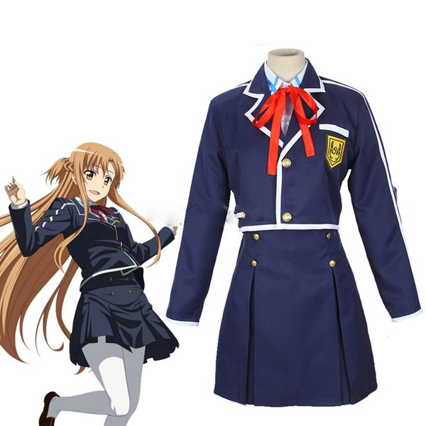 Sword Art Online SAO Yuuki Asuna School Uniform Coat Shirt Skirt Anime Outfit Cosplay Costumes