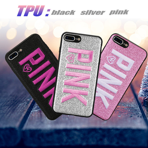 PINK Case Pink Cover Case For Iphone XS Max Iphone XR 8 7 Plus Glitter 3D Embroidery Love Pink Phone Case For Samsung S9 S8 Plus OPP Bag