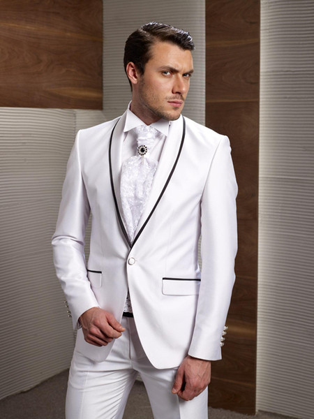 New Brand Groom Tuxedos Shawl Lapel Piping Groomsmen Suits 2 Piece (Jacket+Pant) Custom Made for Marriage Groom Tuxedo