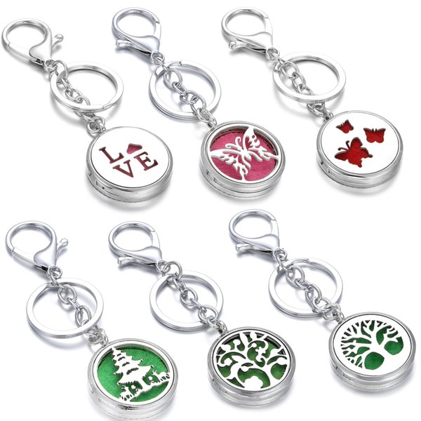 Aromatherapy Perfume Locket Keychain Butterfly Cat Elephant Elk Essential Oil Diffuser Scent Key Chain Keyring with 10pcs pad Christmas Gift
