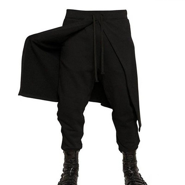 2018 New Arrival Cool Mens Cargo Pants Gothic Punk Style Harem Pants Black Outdoors Hip Hop Wear Skinny Trousers