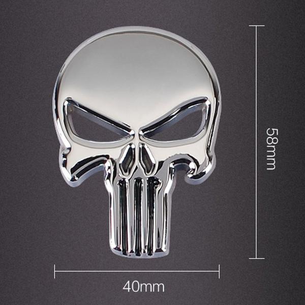 Каратель череп автомобиль мотоцикл 3D металлическая эмблема значок наклейки наклейки черный серебристый цвет
