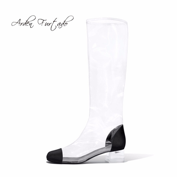 Arden Furtado 2018 spring summer square heels 4cm pvc clear knee high boots big size 40-48 zipper shoes for woman Rain boots