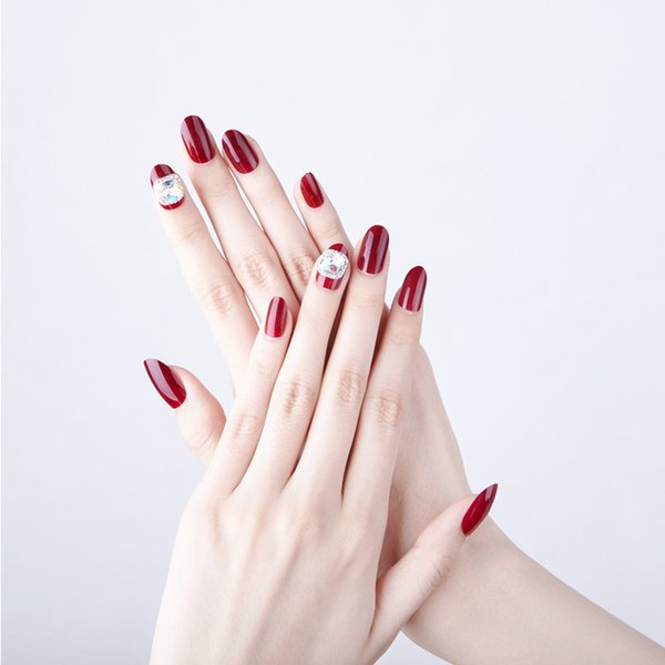24pcs/Set Pretty Wine Red Diamond Bride Nail Art Tips Pre-Design Round Head Full Cover Artificial False Nails with Glue