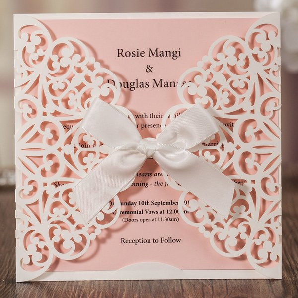 Wishmade Ivory Square Laser Cut Wedding Invitations Cards With Ribbon Pink Inner Sheet Lace Sleeve For Engagement Baby Shower Birthday Party Make Your