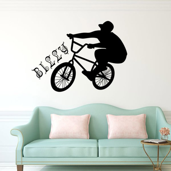 Ride A Bike Outdoor Sports Wall Stickers Waterproof Self-adhesive PVC Wallpapers Arts Decals Can Be Removable Wall Murals Sitting Room Decor