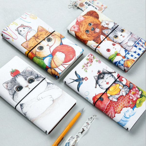1 Pcs Kawaii Cartoon cat PU notdiary book notepad kawaii stationery school supplies gift for kids
