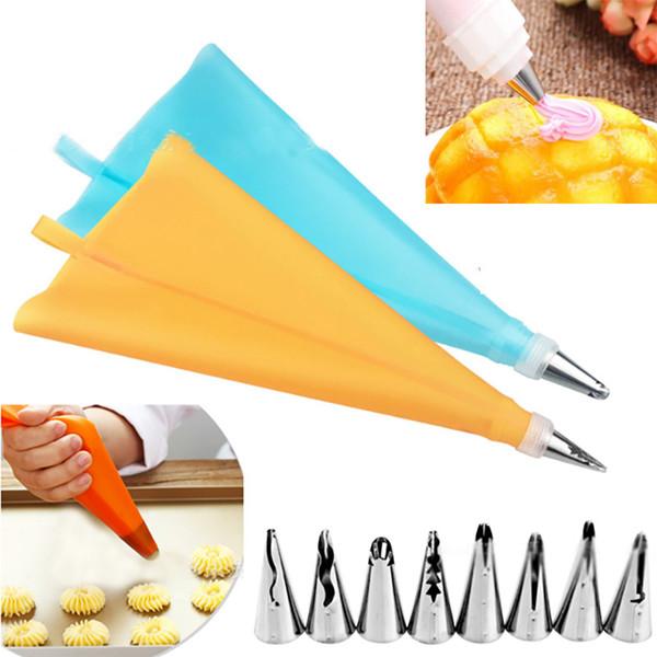 DIY Baking Pastry Cake Piping Tips Set 8 Nozzle Tips+1 Pastry Bag+ 1 Converter Decorating Supplies Kit Kitchen Bar Tool 10pcs/Set HH7-348