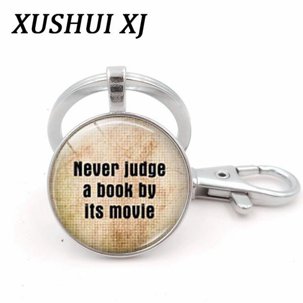 XUSHUI XJ I Love Books Glass Dome Cabochon Pendant Keychain Men Women Book Club Gifts Metal Key Chain Ring Holder Jewlery