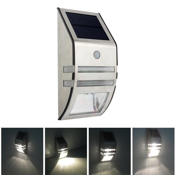 Silber / Schwarz Solar powered Light mit 2pcs SMD LEDs Polykristalline Solarpanel PIR Sensor für Pathway Outdoor Treppen Schritt Garden Yard