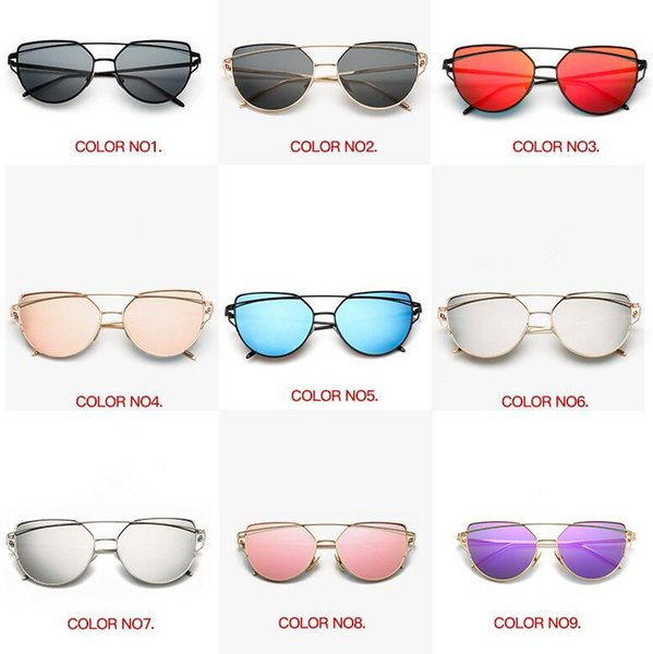 18 colores Vintage Lady Rose Gold Cat Eye Sunglasses Mujeres Marca de diseño Doble vigas Espejo Marco de gafas Gafas al aire libre CCA9194 30pcs