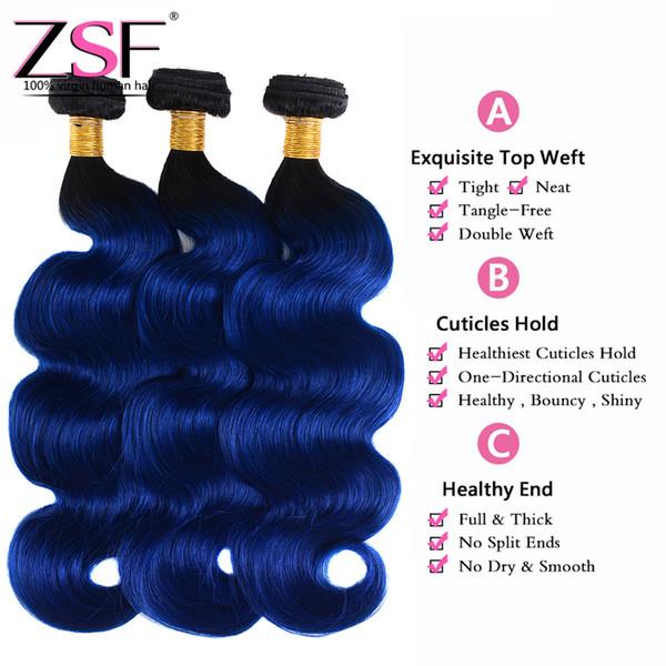 ZSF Top Quality Body Wave Ombre Bundles 100% Unprocsssed Brazilian Virgin Hair 4 Bundles 1B/Blue Ombre Braiding Hair Extensions
