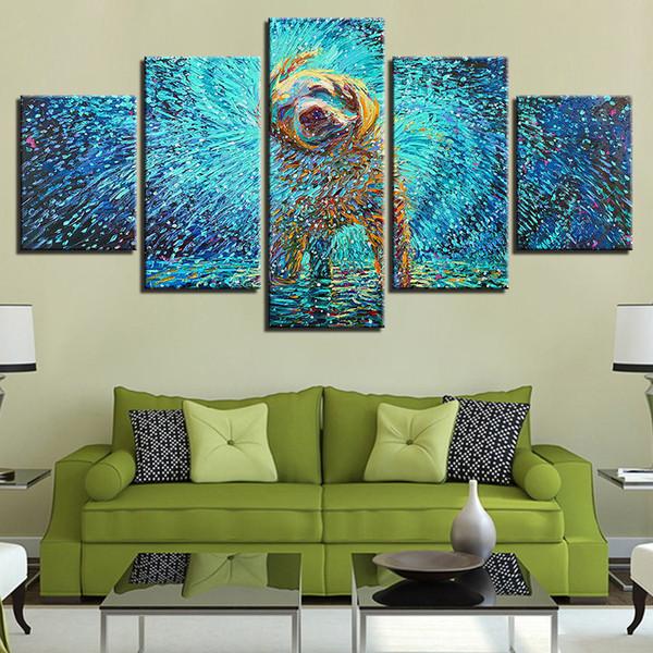 Arte da parede Da Lona Quadro HD Prints Poster Fotos Abstratas 5 Peças Impressionista Cão Shake Pinturas Para Home Decor Kids Room
