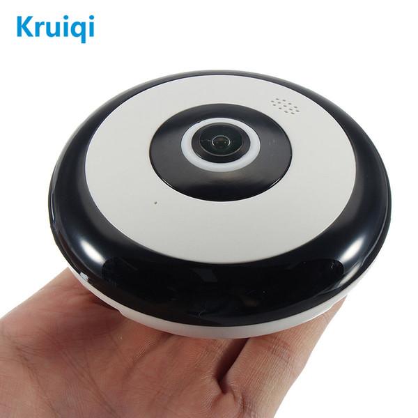 Kruiqi 360 Degree Panoramic Wireles IP Camera 1080P Audio Video WiFi 2MP HD Fish-eye Lens Wide Angle Night Vision VR CCTV Camera
