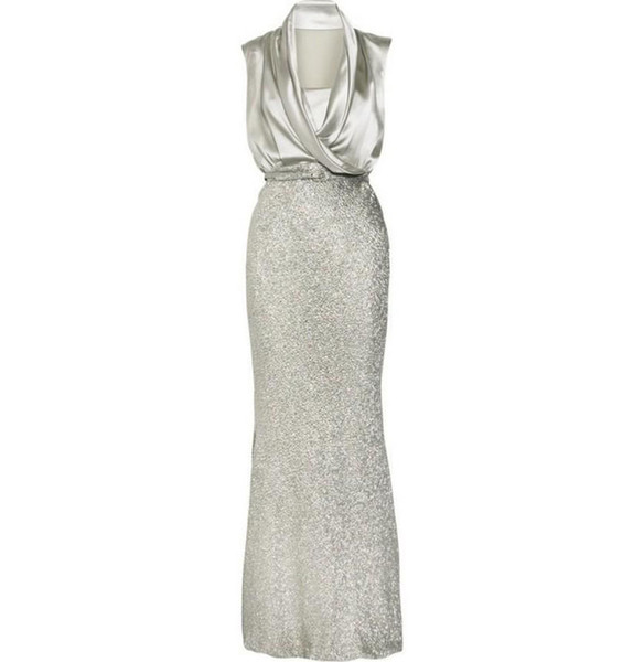 Hot Selling Long Sheath Sequined Light Silver Gray Mother of the Bride Dresses Mother of the Groom Gowns