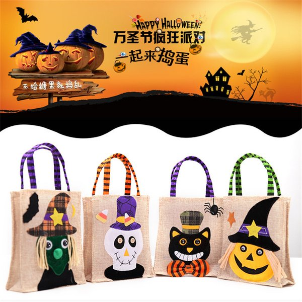 Hot Sale Halloween Kids Candy Bags Large Canvas Children Hand Bags Trick or Treat Pumpkin Devil Spider Halloween Gift Sugar Bags
