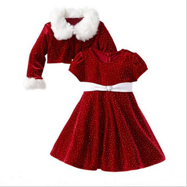 Children Christmas Clothing Sets Kids Girls Xmas Princess Dresses & Girls Fur Neck Dot Print Coat Girls Clothes Set 2-10 years YL204