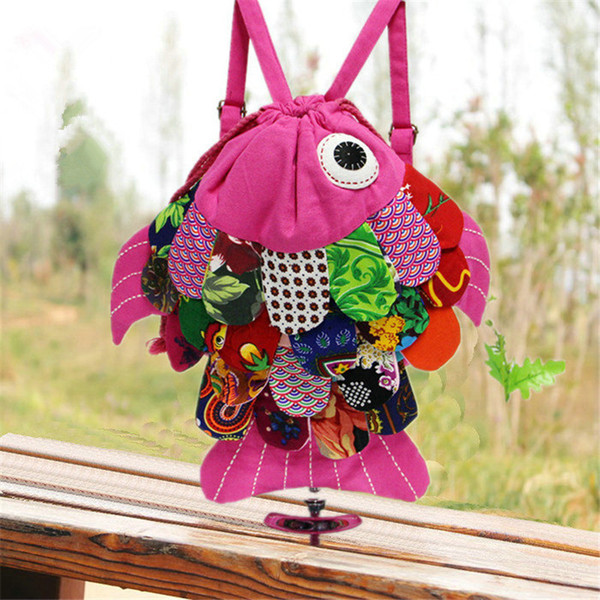 Kids National Wind Animal Backpack Cartoon Fish Bag 10colors Cute Children Chinese Style Cotton Knapsack Travelling Bag Wholeasale