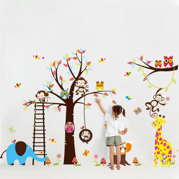 large tree animal wall stickers for kids room decoration 1213. monkey owl zoo cartoon diy children baby home decal mural art 3.0 Y18102209