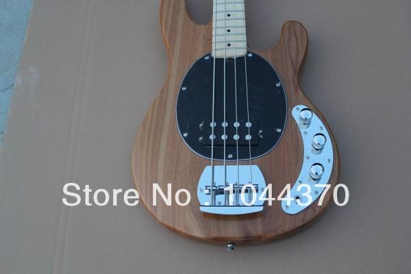 Wholesale 4 strings bass Natural wooden Music bass natural stingray with black pick guard electric bass HOT free shipping 2011
