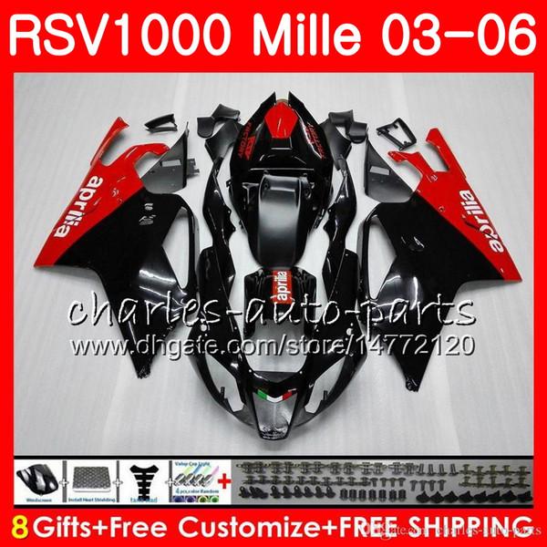 Cuerpo para Aprilia RSV1000 R Mille RSV1000RR RSV1000 03 04 05 06 Rojo negro 76HM1 RSV 1000 R RSV 1000R RSV1000R 2003 2004 2005 2006 Carenado caliente