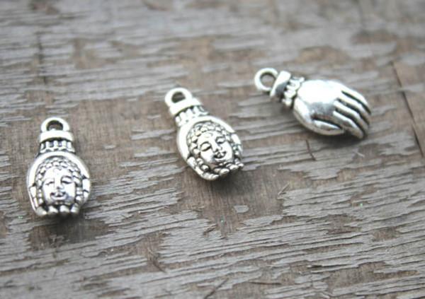 10 Tibetan Silver Buddha Pendant Charms