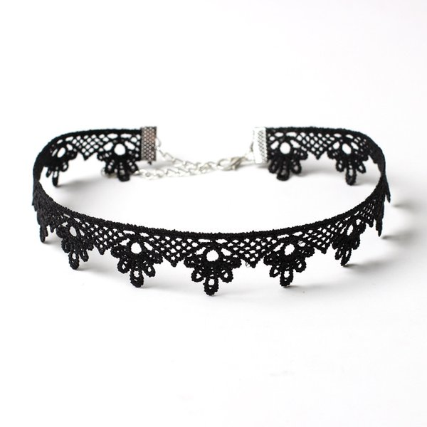 Wholesales 32+7cm Lace Necklace Punk Styles Retro Alloy Blace Velvet Tattoo Stretch Collar Necklace for Girls Women