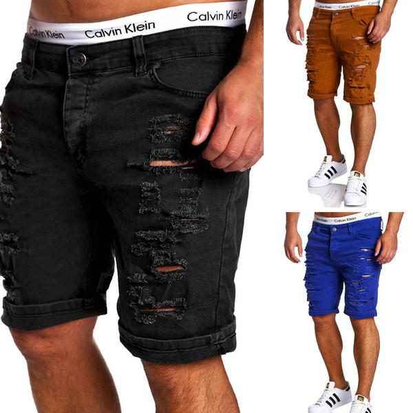 Acacia Pessoa Nova Moda Mens Rasgado Jeans Curto Marca de Roupas Bermuda Verão Shorts Respirável Shorts Jeans Masculinos