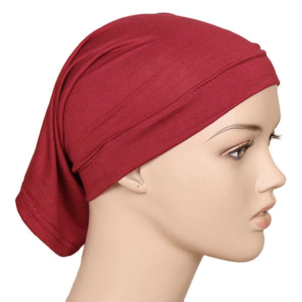 2018 Hohe Qualität Männer Frauen Elastische Baumwolle Gestrickte Moslemisches Hijab Abdeckung Kopf Kappen Casual Tube Cap Haar Skullies Hut Bonnet Beanies
