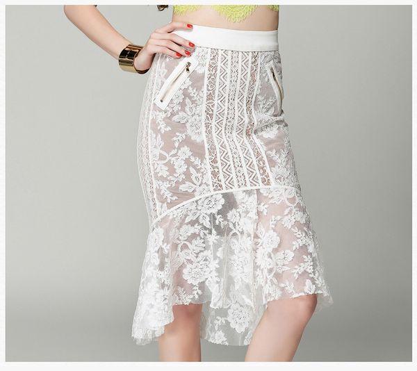Haute Qualité Femmes Fishtail Jupes évidées Dentelle Jupes De Mode Robe Européenne Style Party Fesses Slim Robe Nouveau Design