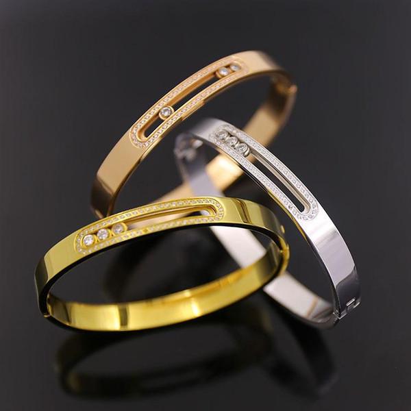 hot brand titanium steel 18k gold love bracelets bangles wheat Sika OL wind stone titanium T bracelet workplace snap tricolor