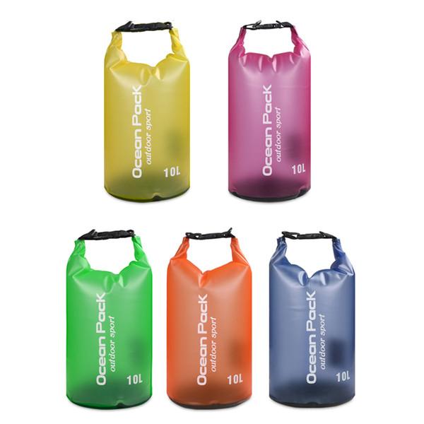 2019 New Sport Outdoor Packs Dry Storage Waterproof Dry Bag canoe kayak PVC bag Ocean Pack Translucent waterproof package 10L For travel
