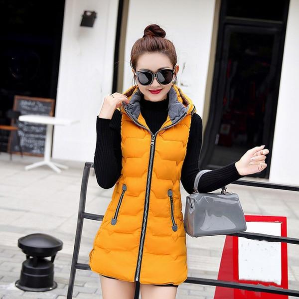 Hot Sale Female Hooded Warm Outwear Women Sleeveless Mid Length Solid Vests Autumn Winter Plus Size Slim Parkas