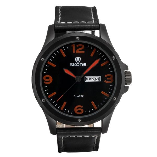 SKONE 9392 Hot Style Men's Large Case Leather Strap Sports Watch Military Watches Mens Luxury Wrist Watches Black Color Fashion Sports Watch