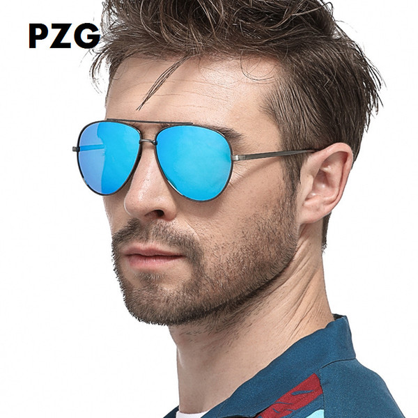 PZG Classic High Quality Male Female Driving Fishing Polarized Pilot Sunglasses UV400 Metal Frame Flash Mirror Polarized Lenses