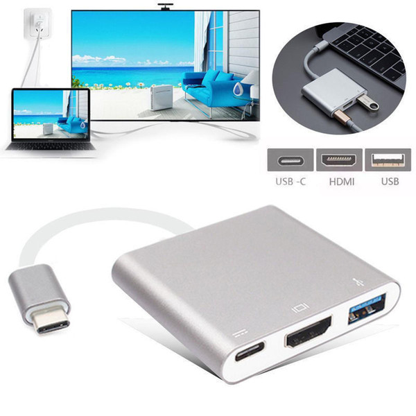 USB Type C To HDMI USB 3.0 Charging Adapter Converter USB-C 3.1 Hub Adapter for Mac Air Pro Pixel Huawei Mate10 Samsung S8+ Plus