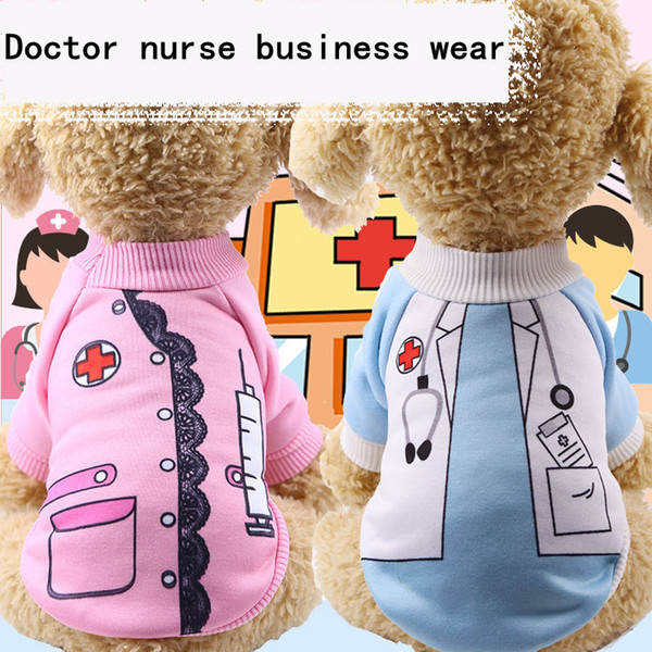 New Cartoon Soft Breathable Clothing Pet Dog Clothes for Dogs Warm Pet Dog Coat Doctor nurse business wear