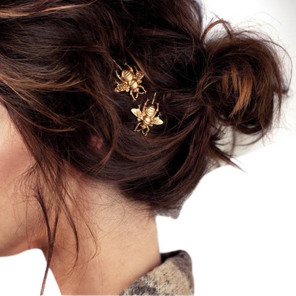 Женская мода Fashion Girl Изысканная заколка для волос для женщин Золотая пчела Заколка для волос Боковая клипса Аксессуары для волос заколки