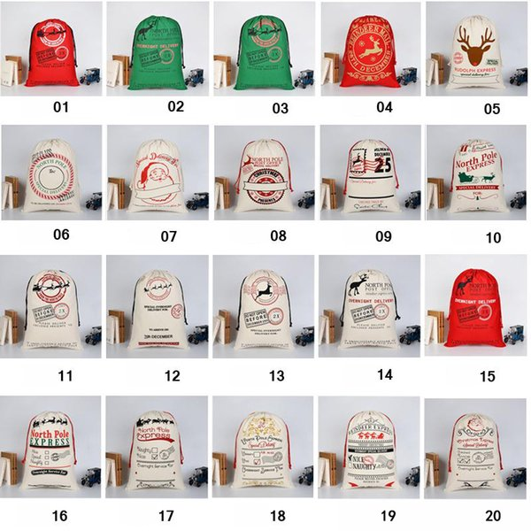Sacchetti regalo di Natale 2018 Grande borsa di tela pesante biologica Borsa di cordone sacco di Babbo Natale con renne Sacchi di Babbo Natale Borse per bambini